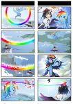 >_< 1girl 4koma :d black_hair black_wings comic crossover dodging fan feathered_wings flying_sweatdrops gameplay_mechanics geta hat holding multicolored_hair multiple_4koma my_little_pony my_little_pony_friendship_is_magic open_mouth pegasus pony rainbow rainbow_dash shameimaru_aya short_hair smile surprised sweatdrop tokin_hat touhou violet_eyes wings xd zxyon2008