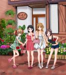4girls asuna_(sao) bag black_hair brown_eyes brown_hair casual denim denim_shorts dress female green_eyes handbag highres kirigaya_suguha lisbeth long_hair multiple_girls nihility red_eyes scenery short_hair shorts silica sword_art_online yuuki_asuna