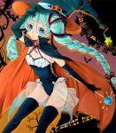 1girl aqua_eyes aqua_hair braid cape halloween hat hatsune_miku jack-o'-lantern leotard long_hair mizuno_ritsu thigh-highs twin_braids twintails vocaloid wand witch_hat