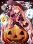1girl adapted_costume candy efe expressionless ghost halloween hat hata_no_kokoro jack-o'-lantern lollipop long_hair long_sleeves mask pink_eyes pink_hair plaid plaid_shirt solo touhou very_long_hair witch_hat