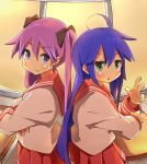 2girls back-to-back blue_eyes blue_hair green_eyes hiiragi_kagami izumi_konata long_hair lucky_star mole_under_eye multiple_girls purple_hair school_uniform serafuku suno-pi