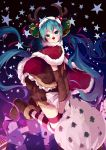 1girl animal_costume antlers aqua_hair bell boots cape christmas detached_sleeves green_eyes hair_bell hair_ornament hatsune_miku kneeling long_hair night red_nose reindeer_antlers reindeer_costume sack shuzi solo star striped striped_legwear thigh-highs twintails very_long_hair vocaloid