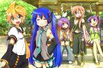>:3 5girls :3 belt blonde_hair blue_eyes blue_hair blush boots closed_eyes cosplay crossed_legs detached_sleeves green_eyes hair_ornament hair_ribbon hairclip hands_on_hips hatsune_miku hatsune_miku_(cosplay) headphones hiiragi_kagami hiiragi_tsukasa izumi_konata kagamine_len kagamine_len_(cosplay) kagamine_rin kagamine_rin_(cosplay) long_hair lucky_star megurine_luka megurine_luka_(cosplay) midriff multiple_girls necktie one_eye_closed open_mouth patricia_martin pink_hair purple_hair ribbon rope shide shimenawa short_hair shorts shrine siblings sisters sitting skirt smile suno-pi takara_miyuki tareme thigh-highs tree tsurime twins twintails vocaloid zettai_ryouiki