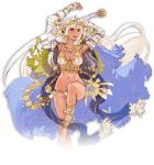 1girl armor arms_up bangle bracelet breasts cape cleavage flower hair_flower hair_ornament headpiece holding jewelry large_breasts leg_up long_hair minaba_hideo navel necklace official_art open_mouth pink_eyes saber_(weapon) sheena_(terra_battle) solo sword terra_battle transparent_background very_long_hair weapon