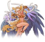 1girl armor bangle bare_shoulders barefoot bikini_top bracelet breasts cape cleavage crossed_arms dual_wielding eyeshadow feathers headpiece holding jewelry large_breasts leg_up lips long_hair makeup minaba_hideo navel necklace official_art pink_eyes saber_(weapon) sheena_(terra_battle) solo sword terra_battle transparent_background under_boob very_long_hair weapon white_hair x_arms