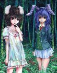 animal_ears bamboo bamboo_forest brown_hair bunny_ears dress flower forest inaba_tewi jacket kabaji legs long_hair multiple_girls nature necktie oil_painting_(medium) open_mouth pleated_skirt purple_eyes purple_hair rabbit_ears red_eyes reisen_udongein_inaba shirt short_hair skirt smile touhou traditional_media white_shirt