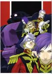black_eyes black_tri-stars blonde_hair blue_eyes brown_hair char_aznable garma_zabi gihren_zabi gloves gundam helmet highres m'quve male mask mecha military military_uniform miwa_shirou miwa_shirow mobile_suit_gundam purple_hair ramba_ral scan uniform zaku zaku_ii zaku_ii_hmt_black_tri-stars_custom zeon