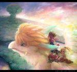 2boys ameiro androgynous bird blonde_hair crane_(animal) dragon fang flammie flying forest headband mana_tree multiple_boys multiple_girls nature ponytail popoie puffy_pants purim rainforest randi red_hair riding secret_of_mana seiken_densetsu seiken_densetsu_2 tree wings