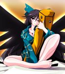arm_cannon bad_feet barefoot black_hair bottomless bow breasts brown_eyes cleavage erect_nipples feet hair_bow kieyza large_breasts large_wings long_hair pajamas pillow reiuji_utsuho solo touhou weapon wings wink