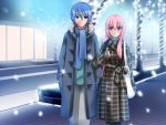 1boy 1girl bad_id bag blue_eyes blue_hair blush coat couple hetero kaito long_hair megurine_luka pink_hair scarf short_hair smile snow vocaloid yakitori_(oni)