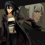 428 alphard amputee androgynous black_hair brown_eyes canaan canaan_(character) coat jacket mouth_hold multiple_girls ponytail rex_k spoilers suspenders white_hair