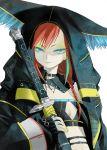 blue_eyes eyeshadow kaya8 nail_polish original pale_skin red_hair redhead ringed_eyes sheath sheathed smile solo sword weapon