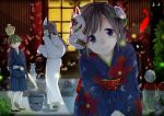 1boy 2girls absurdres bucket fireworks fox_mask highres japanese_clothes jizou kimono mask multiple_girls original rakkarakka senkou_hanabi sparkler triangular_headpiece yukata