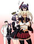 1boy 4girls admiral_(kantai_collection) arms_behind_back black_gloves black_hair black_legwear blonde_hair boots breasts carrying_over_shoulder chiba_toshirou child contrapposto cowboy_shot dark_skin eyepatch glasses gloves gradient gradient_background grin hand_on_another's_shoulder hat heart holding holding_shoes huge_breasts if_they_mated kantai_collection large_breasts looking_at_another looking_at_viewer mechanical_halo midriff military military_uniform miniskirt multiple_girls musashi_(kantai_collection) open_mouth peaked_cap piggyback pink_background pleated_skirt purple_hair red_skirt sarashi semi-rimless_glasses short_hair skirt smile sword tatsuta_(kantai_collection) tenryuu_(kantai_collection) thigh-highs twintails under-rim_glasses uniform weapon zettai_ryouiki