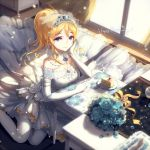1girl ayase_eli blonde_hair blue_eyes blue_rose blush bouquet breasts cake cleavage dress earrings elbow_gloves flower food gloves jewelry kieta long_hair looking_at_viewer love_live!_school_idol_project ponytail rose smile solo thigh-highs tiara white_gloves white_legwear