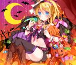 1girl ayase_eli bat blonde_hair blue_eyes candy crescent_moon halloween hat holding jack-o'-lantern lollipop long_hair looking_at_viewer love_live!_school_idol_project mog_(artist) moon navel ponytail sitting smile solo witch_hat