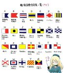 1girl :d ^_^ ascot atago_(kantai_collection) beret bespectacled black_gloves blonde_hair closed_eyes ebifly glasses gloves hat kantai_collection long_hair long_sleeves military military_uniform open_mouth signal_flag simple_background smile solo translation_request uniform white_background