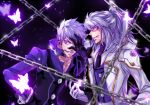2boys add_(elsword) black_background butterfly chain choker dual_persona elsword facial_mark gloves grey_hair grin half_updo hand_over_face jacket long_hair male multiple_boys selcia smile tattoo violet_eyes