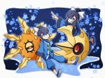 1boy 1girl blue_eyes blue_hair brother_and_sister chinese_clothes fuu_(pokemon) hacko hair_ornament lunatone open_mouth pointing pokemon pokemon_(creature) pokemon_(game) pokemon_oras ran_(pokemon) siblings sitting smile solrock star twins