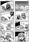 4koma :d alternate_costume bespectacled comic crossover glasses goggles goggles_on_head gun handgun headgear highres holding kantai_collection maru-yu_(kantai_collection) monochrome mr_t multiple_4koma open_mouth seed shima_noji_(dash_plus) short_hair smile sunflower_seed sunglasses tears teeth the_a-team translation_request weapon yukikaze_(kantai_collection)