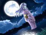 1girl clouds doku_hebi hairband idolmaster japanese_clothes long_hair moon night night_sky shijou_takane silver_hair sky solo violet_eyes wind