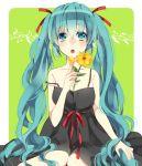1girl aqua_eyes aqua_hair dress flower hair_ribbon haruno_kou hatsune_miku long_hair open_mouth ribbon sitting solo strap_slip twintails very_long_hair vocaloid