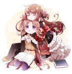 2girls arm_support arms_around_neck ayumaru_(art_of_life) beige_background black_cape black_legwear book book_on_lap braid brown_hair brown_ribbon cape chin_on_head closed_eyes curly_hair dress expressionless eyebrows_visible_through_hair facing_viewer frilled_dress frilled_sleeves frills full_body furrowed_eyebrows gradient gradient_background hair_ribbon hair_rings hat head_rest highres hiiragi_nemu kneeling layered_dress light_blush light_brown_hair long_hair long_sleeves looking_at_another looking_up magia_record:_mahou_shoujo_madoka_magica_gaiden mahou_shoujo_madoka_magica mortarboard multiple_girls open_book open_mouth pantyhose parted_lips purple_legwear red_ribbon ribbon satomi_touka seiza shiny shiny_hair simple_background sitting sleeves_past_wrists sparkle tassel twin_braids violet_eyes white_background wide_sleeves
