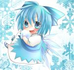 >:d 1girl :d ahoge asyuaffw blue_eyes blue_hair bow chibi cirno fang hair_bow hair_ribbon highres holding ice looking_at_viewer open_mouth ribbon short_hair smile snowflakes solo touhou wings