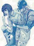2boys blue bruno_bucciarati helmet ichi_(fe1538) jojo_no_kimyou_na_bouken multiple_boys stand_(jojo) sticky_fingers_(stand) tegaki zipper