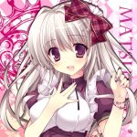 1girl :d bow close-up hair_bow hair_ribbon hand_on_own_chest long_hair looking_at_viewer maid nanaroba_hana open_mouth original ribbon silver_hair smile solo violet_eyes
