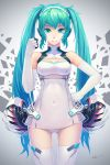 1girl 2014 :p aqua_eyes aqua_hair clenched_hand covered_navel dated elbow_gloves gloves hand_on_hip hatsune_miku headphones highres leotard long_hair smile solo thigh-highs tongue tongue_out twintails tyc001x very_long_hair vocaloid