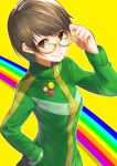 1girl adjusting_glasses badge brown_eyes brown_hair bust button_badge glasses hand_in_pocket looking_at_viewer nekomanma_(chipstar182) persona persona_4 rainbow_background satonaka_chie short_hair smile smiley_face solo track_jacket yellow-framed_glasses