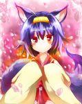 1girl animal_ears expressionless fox_ears fox_tail gradient_hair hairband hatsuse_izuna highres japanese_clothes kimono multicolored_hair nayutaro no_game_no_life purple_hair red_eyes short_hair tail