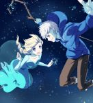 1boy 1girl :d blonde_hair blue_eyes braid collarbone crossover elsa_(frozen) frozen_(disney) green_eyes grin hoodie jack_frost_(rise_of_the_guardians) kisetsu looking_at_another open_mouth outstretched_arms power_connection rise_of_the_guardians single_braid smile snow spread_arms staff white_hair