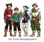 4boys :d aoihon aramis_(three_musketeers) athos beard black_hair blue_eyes boots brown_eyes brown_hair cape closed_eyes copyright_name d'artagnan facial_hair french gloves green_eyes hat hat_feather highres holding holding_hat long_hair male multiple_boys mustache open_mouth porthos rapier scabbard sheath smile sword the_three_musketeers thigh-highs thigh_boots weapon white_hair