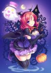 1girl black_gloves black_hair blush breasts cape cleavage crescent_moon demon_tail elbow_gloves fake_wings ghost gloves halloween head_wings jack-o'-lantern looking_at_viewer love_live!_school_idol_project moon nishikino_maki one_eye_closed redhead riv short_hair smile solo tail thigh-highs violet_eyes wings zettai_ryouiki