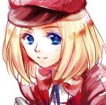 blonde_hair blue_eyes hat looking_at_viewer lowres riko_(kujira215) short_hair simple_background smile solo white_background