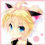 1boy animal_ears blonde_hair blue_eyes blush cat_ears kagamine_len kemonomimi_mode looking_at_viewer riko_(kujira215) short_hair solo vocaloid