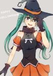 1girl gloves green_eyes green_hair halloween hat hatsune_miku head_tilt long_hair open_mouth ringomaru simple_background skirt solo twintails vocaloid witch_hat