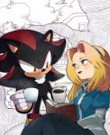blonde_hair blue_eyes book cup hairband maria_robotnik mug naoko_(juvenile) partially_colored red_eyes shadow_the_hedgehog smile sonic_the_hedgehog