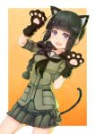 1girl animal_ears bangs black_hair blunt_bangs braid cat_ears cat_paws cat_tail fake_animal_ears garutaisa highres kantai_collection kitakami_(kantai_collection) long_hair open_mouth paws school_uniform serafuku smile solo tail