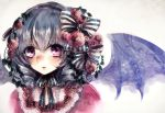 1girl absurdres bat_wings close-up drill_hair ginzuki_ringo hair_ornament hairband highres lolita_fashion lolita_hairband looking_at_viewer parted_lips remilia_scarlet short_hair silver_hair sketch solo touhou violet_eyes wings