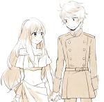 1boy 1girl aldnoah.zero asseylum_vers_allusia bare_shoulders blush height_difference holding_hands long_hair midriff military military_uniform short_hair slaine_troyard smile uniform