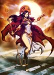 ñusta_huillac 1girl army black_hair breasts cape cleavage genzoman incan long_hair navel outstretched_arm payot polearm real_life red_cape shadow side_slit solo_focus spear stairs sun sunset toeless_legwear vambraces weapon