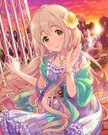 1girl flower hair_flower hair_ornament idolmaster idolmaster_cinderella_girls long_hair outdoors saionji_kotoka solo very_long_hair