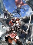 1boy 1girl armor cape clenched_teeth dragon fantasy gauntlets helmet junny long_hair looking_back open_mouth original redhead sharp_teeth shield sky sweat sword thigh-highs twintails weapon