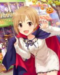 :d aiba_yumi bat breasts cape fangs fingernails ghost halloween hat idolmaster idolmaster_cinderella_girls jack-o'-lantern jewelry long_fingernails looking_at_viewer nail_polish necklace open_mouth outdoors pink_nails pumpkin silk smile solo_focus spider_web sun_(symbol) town vampire witch_hat