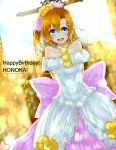 1girl arms_behind_back azure_luna bare_shoulders blue_eyes blush character_name dress happy_birthday highres kousaka_honoka looking_at_viewer love_live!_school_idol_project open_mouth orange_hair short_hair smile solo