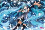 1girl :d armpits black_legwear blue_eyes blue_hair detached_sleeves hatsune_miku holding komecchi long_hair looking_at_viewer microphone necktie open_mouth pleated_skirt singing skirt smile solo thigh-highs twintails very_long_hair vocaloid zettai_ryouiki