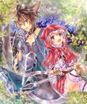 1boy 1girl :d animal_ears axe big_bad_wolf_(grimm) blue_eyes brown_hair chain claws collar frills hood little_red_riding_hood little_red_riding_hood_(grimm) neme open_mouth original red_eyes red_hood silver_hair sitting smile weapon wolf wolf_ears